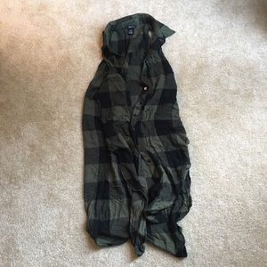 Rue 21 olive green and black plaid tunic dress